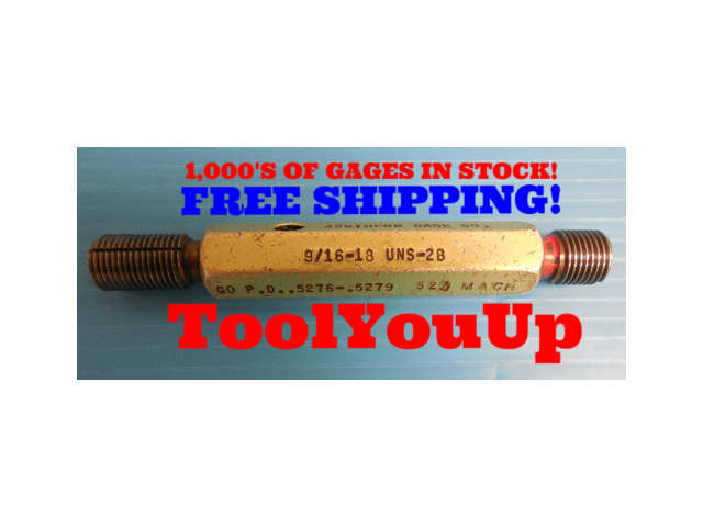 BUDGET 9/16 18 UNS 2B BEFORE ANODIZE THREAD PLUG GAGE .5625 PD'S = .5276 & .5335