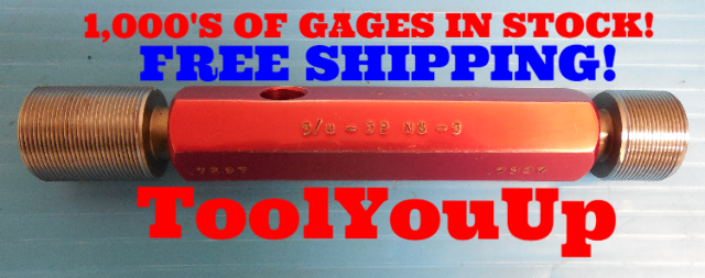 BUDGET PRICE 3/4 32 NS 3 THREAD PLUG GAGE .75 GO NO GO PD'S = .7297 &  .7327