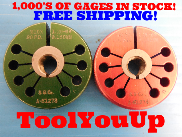 M10 X 1.25 6g THREAD RING GAGES 10.0 1.250 GO NO GO P.D.'S= 9.1600 & 9.0420 TOOL