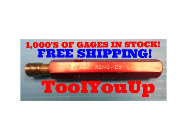 .4062 32 NS 2B LEFT HAND THREAD PLUG GAGE P.D. = .3878 TOOLMAKER MACHINIST TOOL