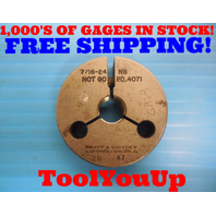 7/16 24 NS THREAD RING GAGE .4375 NO GO ONLY P.D. = .4071 INSPECTION TOOLING