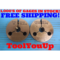 17/32 24 NS 3 THREAD RING GAGES .53125 GO NO GO P.D. = .5042 & .5010 INSPECTION