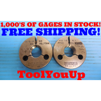 13/16 18 NS THREAD RING GAGES .8125 GO NO GO P.D. = .7764 & .7726 INSPECTION