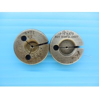 1 - 72 NF - 3 THREAD RING GAGES GO NO GO P.D.'S = .0640 & .0627 INSPECTION TOOLS