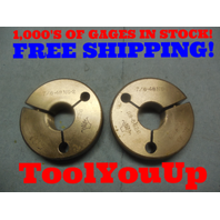 7/8 48 NS 2 THREAD RING GAGES .875 GO NO GO P.D.'S ARE .8606 & .8575 TOOLING