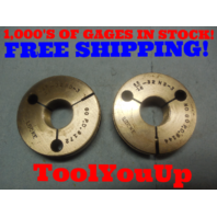 15/16 32 NS 3 THREAD RING GAGES .9375 GO NO GO P.D.'S = .9172 AND .9144 TOOL