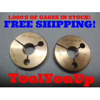 .725 48 UNS 2A THREAD RING GAGES .7250 GO NO GO P.D.'S = .7106 & .7075 TOOLING