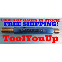 7/16 14 UNJC 3B THREAD PLUG GAGE .4375 GO NO GO P.D.'S = .3911 & .3957 TOOLING