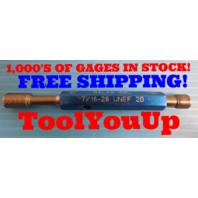 7/16 28 UNEF 2B THREAD PLUG GAGE .4375 GO NO GO P.D.'S = .4143 & .4189 TOOLING