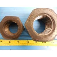 "PLAIN FINISH STEEL HEAVY HEX NUTS 2"" 4 1/2 2.00 4.50 & 1 1/2"" 6 1.50 6.00"