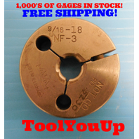 BUDGET PRICE 9/16 - 18 NF 3 THREAD RING GAGE .5625 NO GO ONLY P.D. = .5230 TOOLS