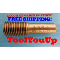 9/16 - 18 UNF THREAD PLUG GAGE .5625 GO ONLY P.D. = .5264 TAPERLOCK DESIGN TOOL