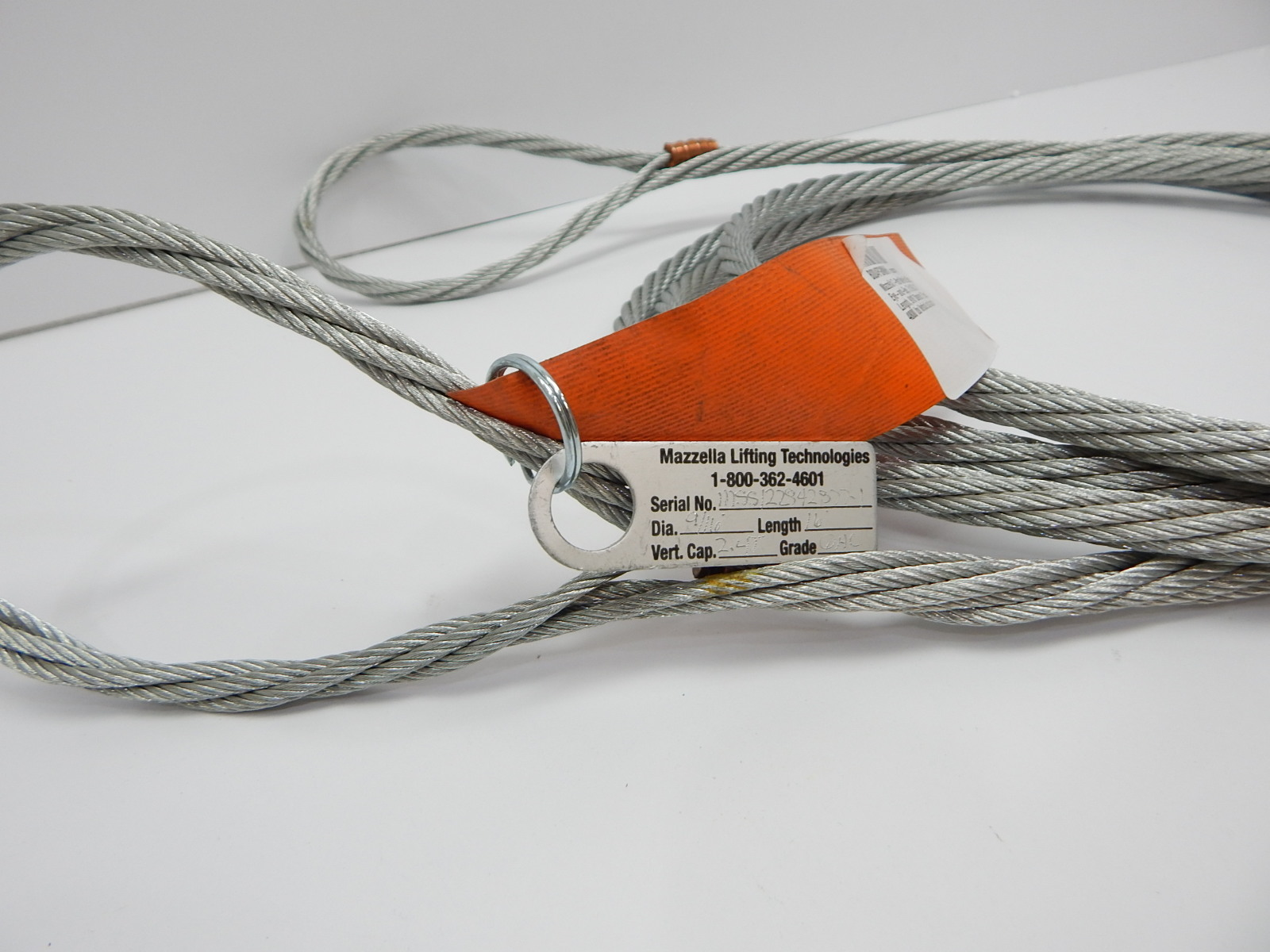 Mazzella 1200-501 7-Part Wire Rope Sling, Eye-and-Eye, 7 x 19 GAC ...