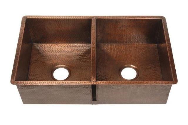 Belle Foret Bfk2kitorb Double 16 Gauge Copper Kitchen Sink In Oil Rubbed Bronze