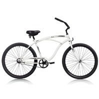 "Micargi TOUCH-M-WHI Men's 26"" Beach Cruiser Bicycle Bike, White"