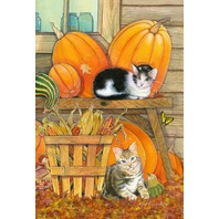 "Toland Home Garden Pumpkin Patch Kittens 12.5x18"" Fall Kitty Harvest Flag 2Ct"