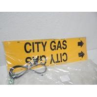 "Brady 4027-H Strap-On Pipe Marker, B-915, Black On Yellow Plastic ""City Gas"""