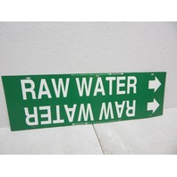 """Brady 4116-H Strap-On Pipe Marker, B-915, White On Green Plastic """"Raw Water"""""""