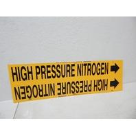 "Brady 4195-H Strap-On Pipe Marker, B-915, Black/Yellow ""High Pressure Nitrogen"""