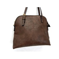 "Fashion Handbag DS9840, 15"" 1/2 Moon Crossbody Satchel Bag Tote Purse Deep Brown"