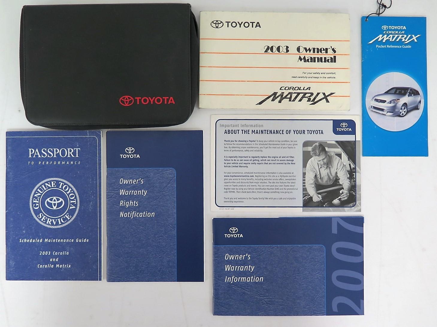 2003 toyota corolla matrix owners manual book bashful yak rh bashfulyak com 2003 Toyota Matrix Short Shifter 2003 Toyota Matrix Short Shifter