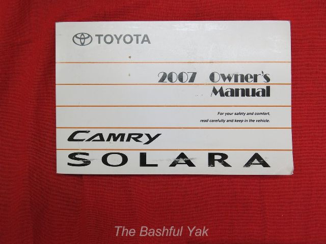 2007 toyota camry owners manual specs price release. Black Bedroom Furniture Sets. Home Design Ideas
