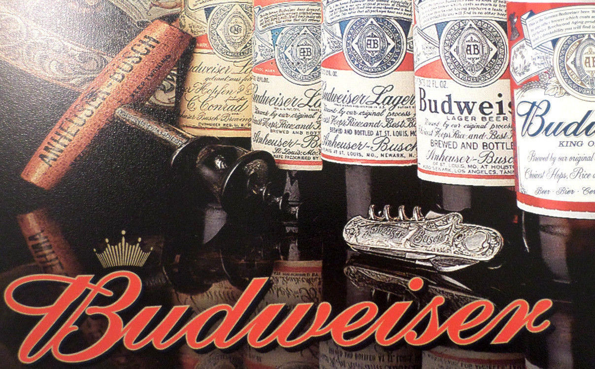 Mini Man Cave Painting : Budweiser history of bud tin sign man cave wall art bar