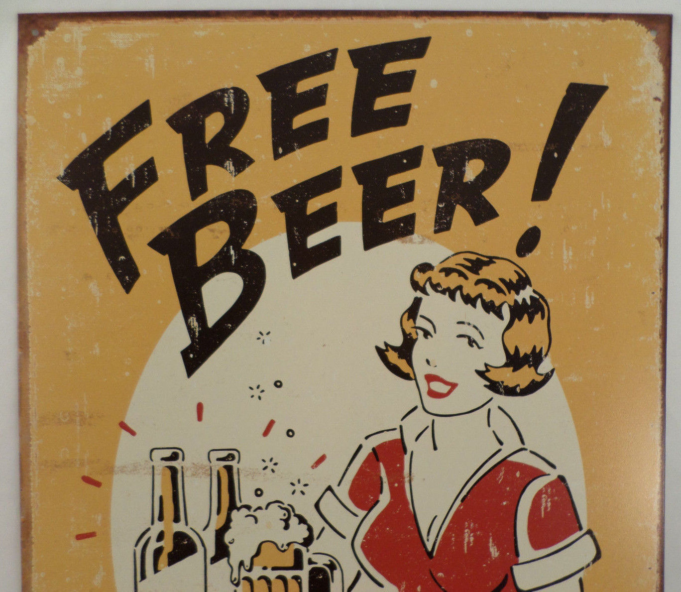 Man Cave Vintage Signs : Free beer tomorrow retro inspired tin sign man cave wall