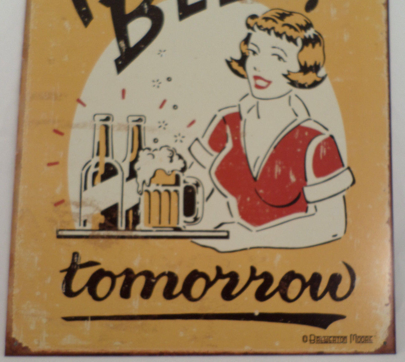 Man Cave Art Decor : Free beer tomorrow retro inspired tin sign man cave wall