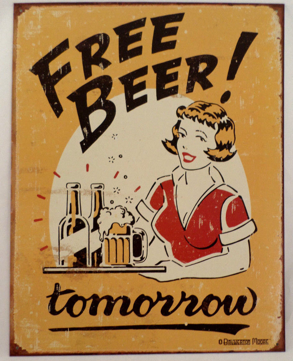 Man Cave Beer Signs : Free beer tomorrow retro inspired tin sign man cave wall