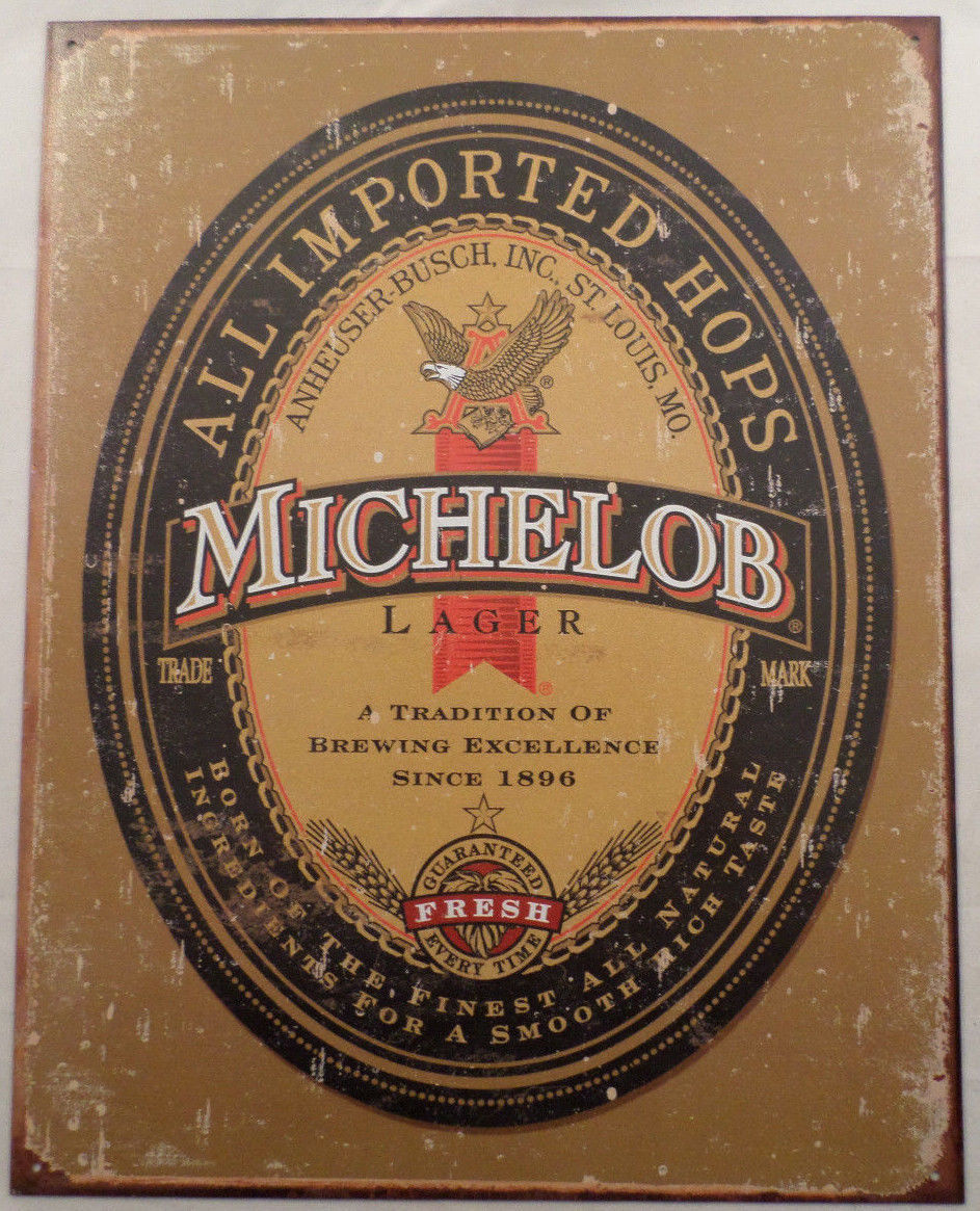 Michelob Beer St. Louis Missouri Weathered Label Tin Sign