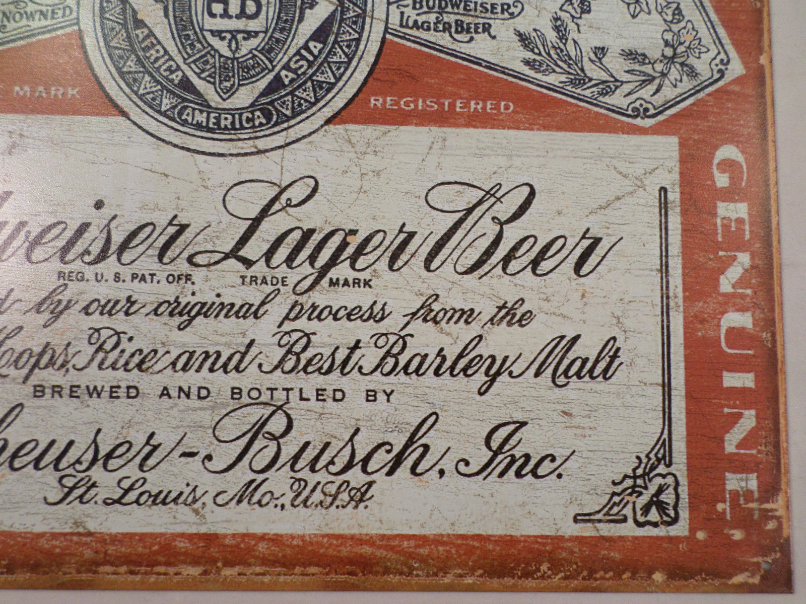Man Cave Wall Art budweiser lager weathered label tin sign man cave wall art bar
