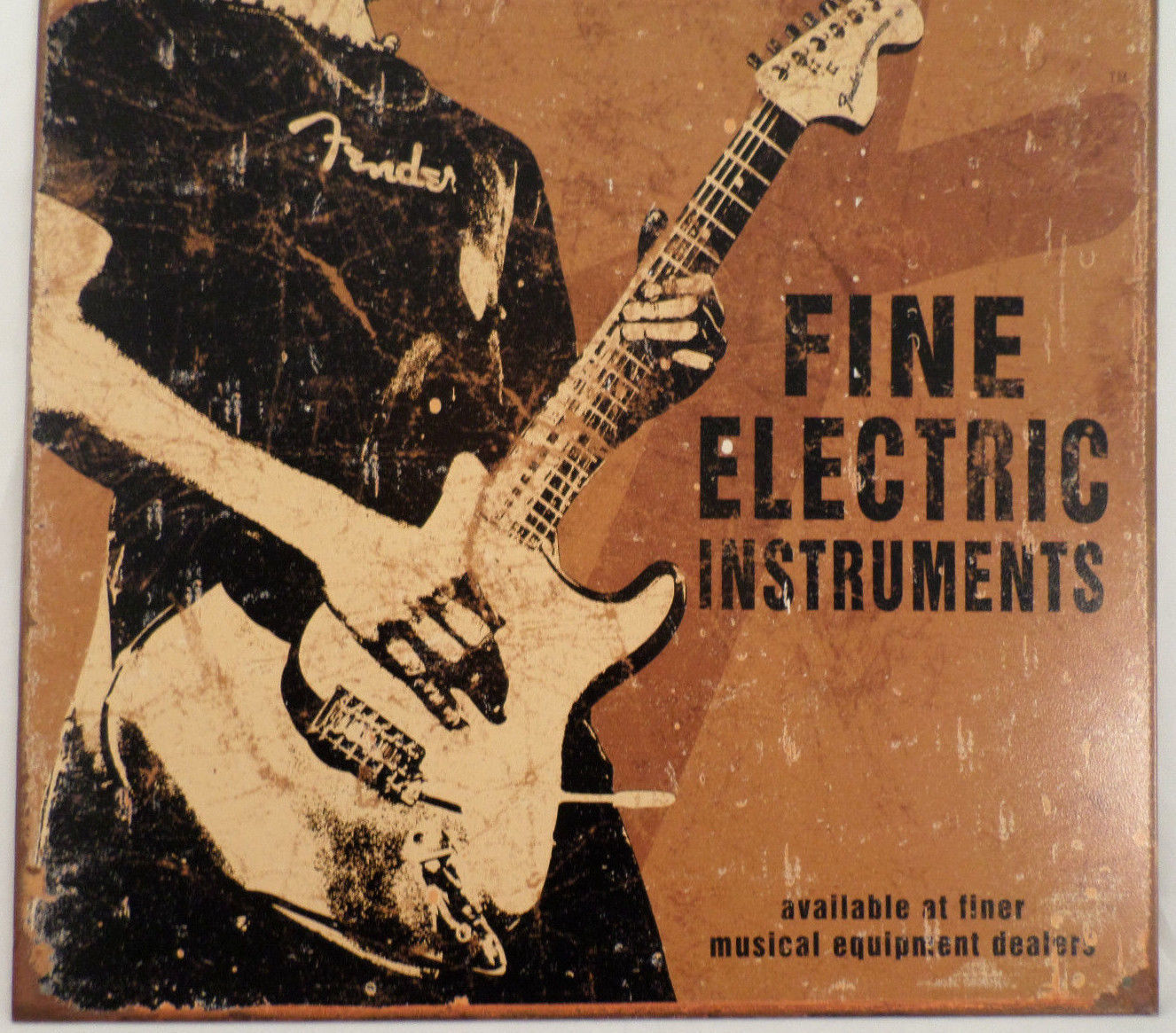 Electric Man Cave Signs : Fender rock on electric guitar inspiration tin sign man