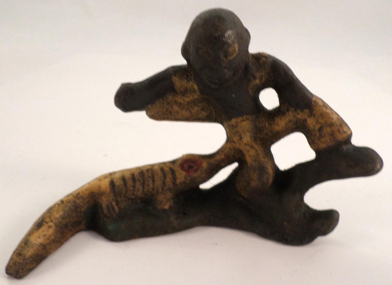 Cast iron metal bottle opener black americana gator boy alligator nipping ebay - Alligator bottle opener ...