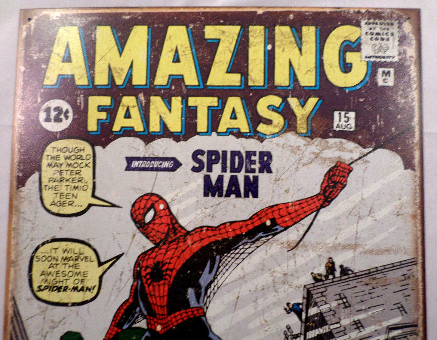 "Amazing Spider-Man #1 Cover Vintage Patina 12.5""X16"" Comic ..."
