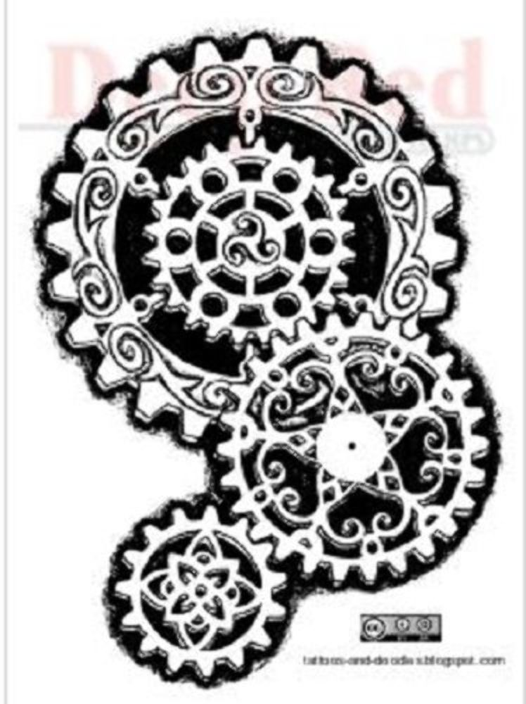 Deep Red Rubber Cling Stamp Steampunk Inspired Gears Ebay
