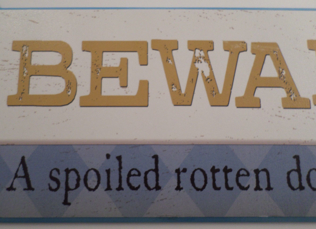 Beware Of Spoiled Rotten Dog Lives Here Bone Shape Wooden Wall Plaque Sign Decor