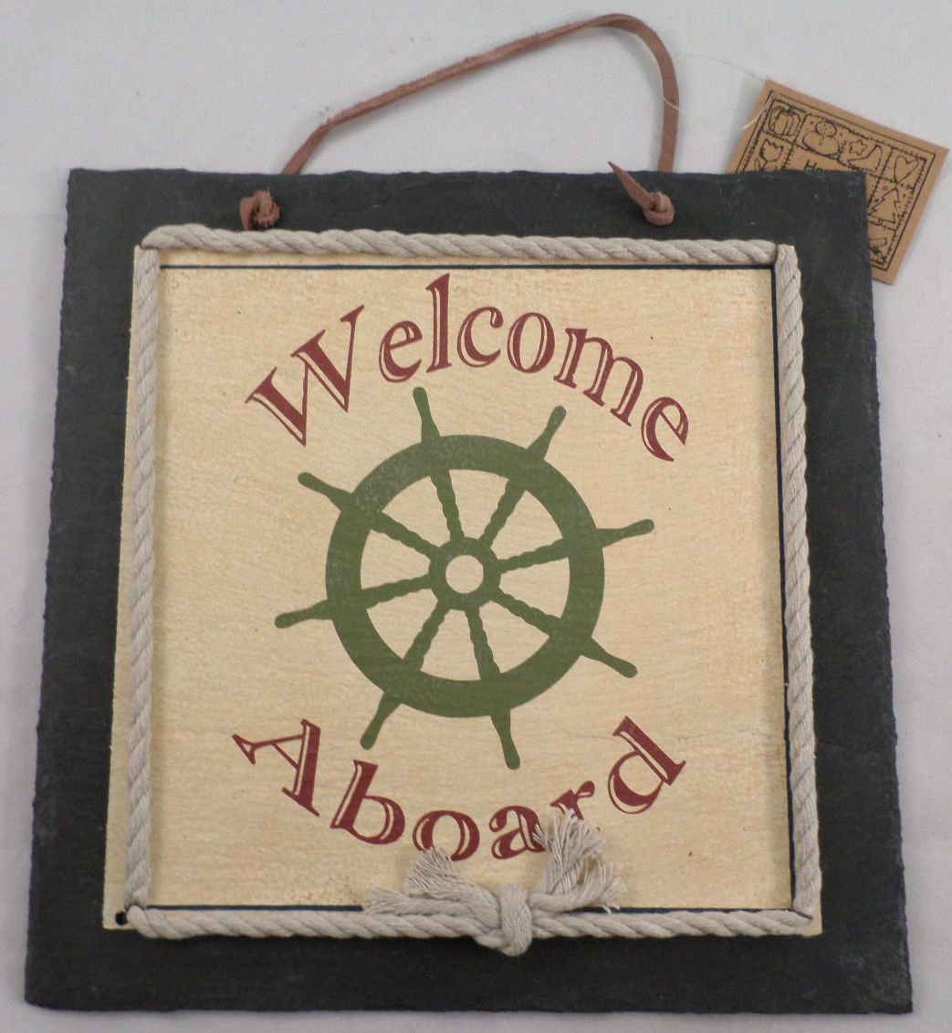 Welcome aboard captains wheel nautical home decor sign wall welcome aboard captains wheel nautical home decor sign wall plaque amipublicfo Images