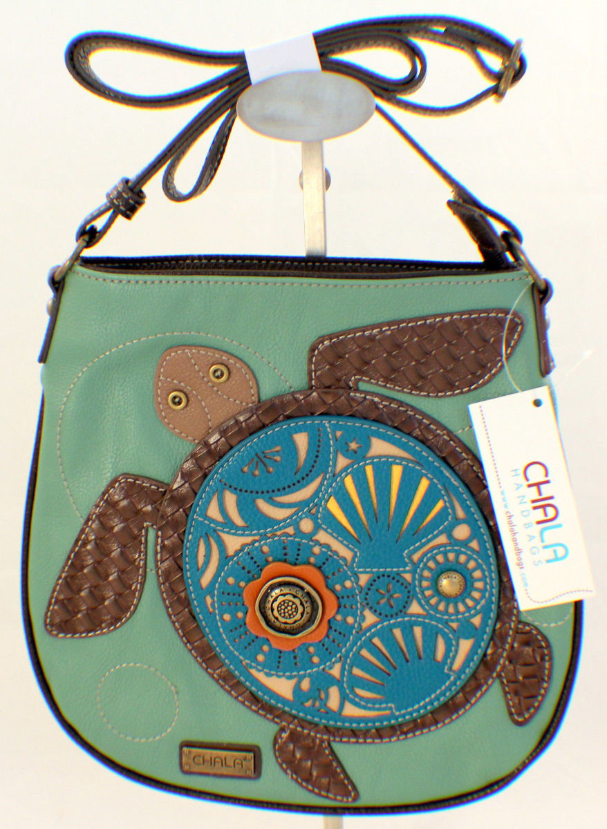 Chala Cross Body Messenger Style Sea Turtle Purse Handbag Leather