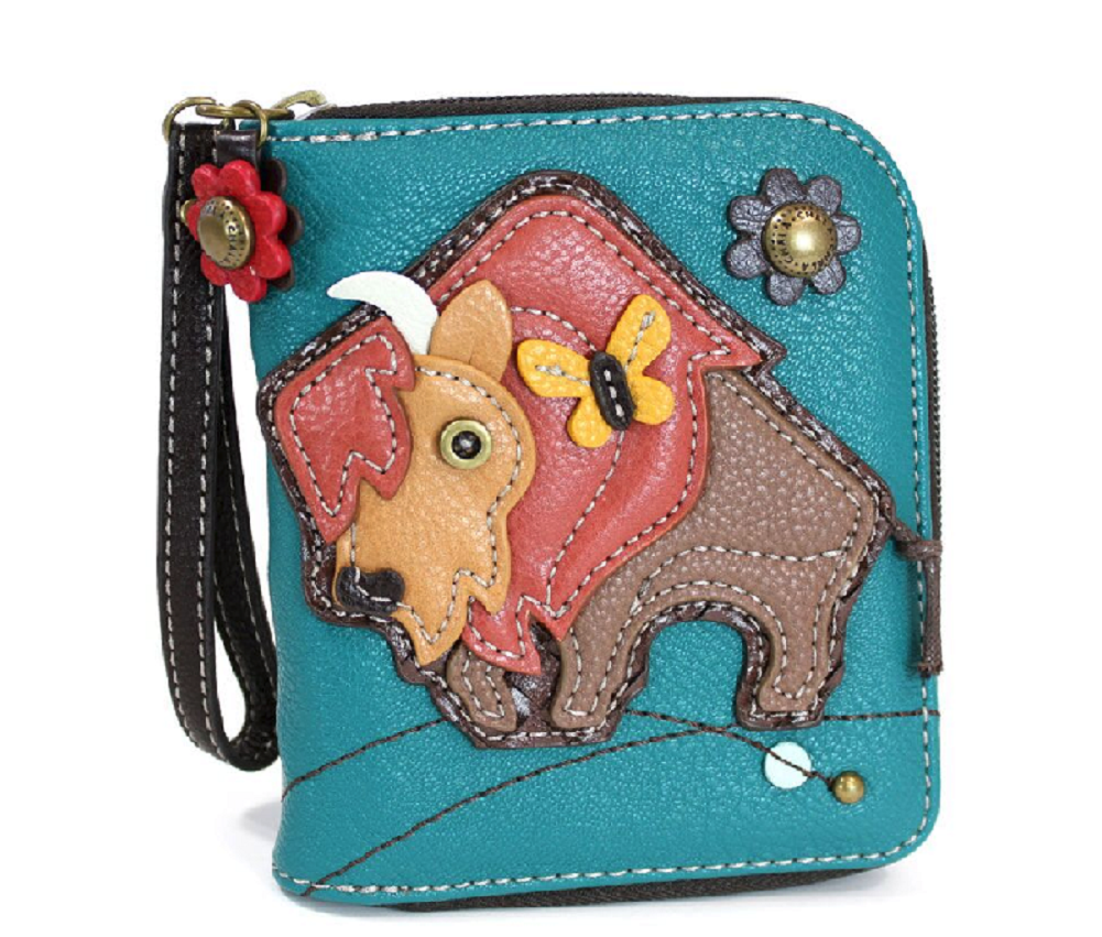 Charming Chala Butterfly and Buffalo Purse Wallet Credit Cards Coins Wristlet   Dragonfly Whispers