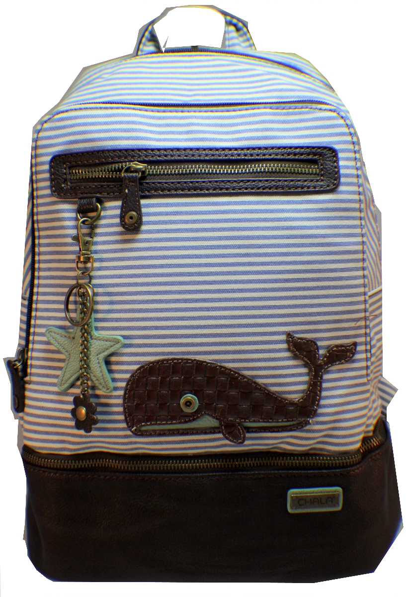Chala Backpack Style Purse Striped Whale Purse w detachable Key ...