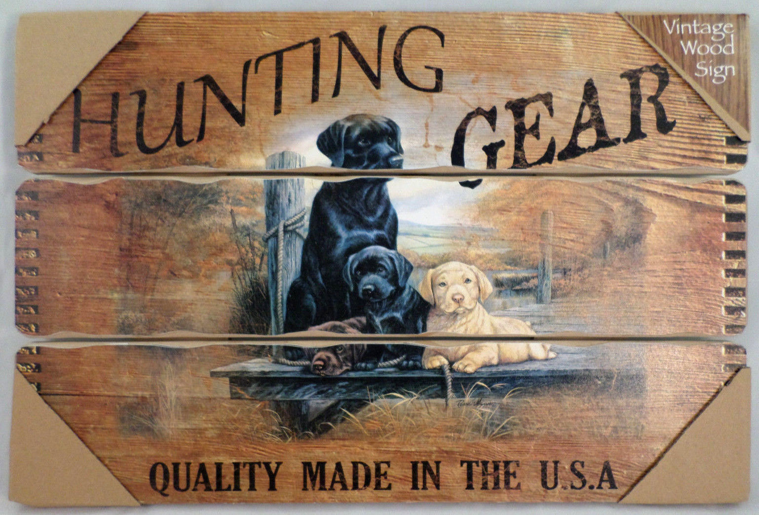 Hunting Gear Quality Made In The USA Vintage Inspired Wooden Wall Sign Plaque