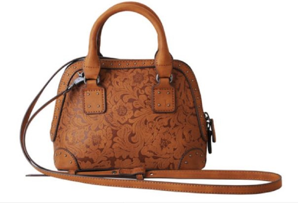 Leather Tooled Embossed Double Handle Satchel Cross Body ...