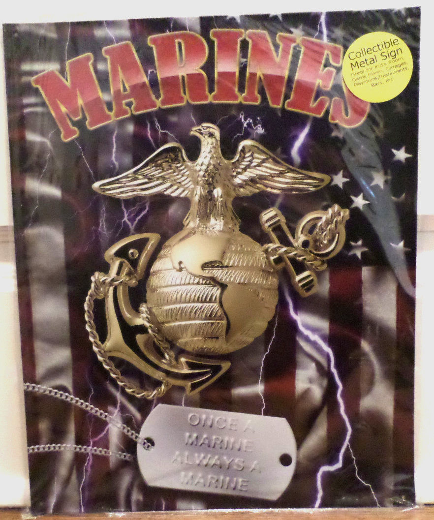 Military Man Cave Signs : United states marine corps dog tag metal tin sign garage
