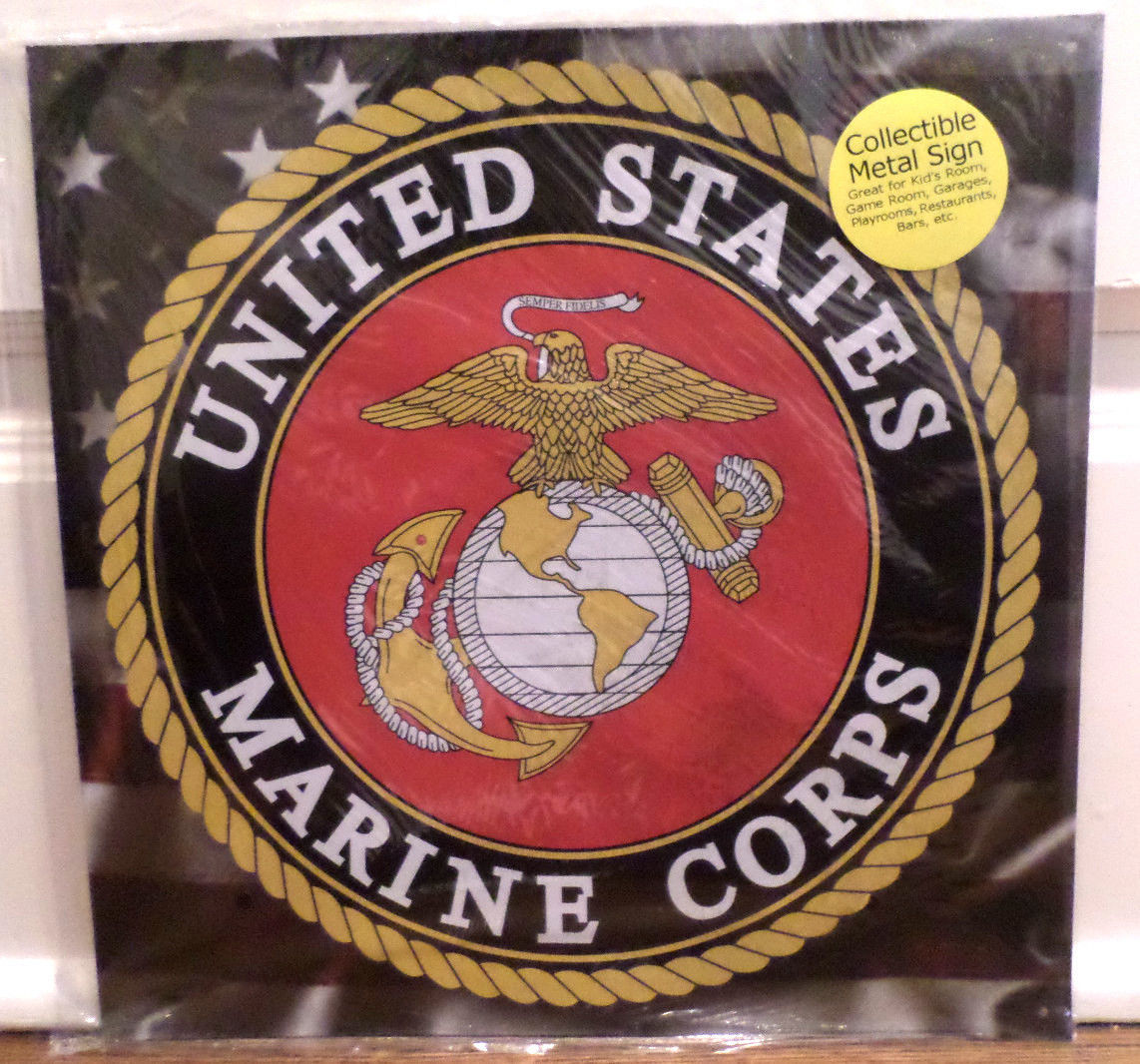 Military Man Cave Signs : United states marine corps round metal tin sign garage man