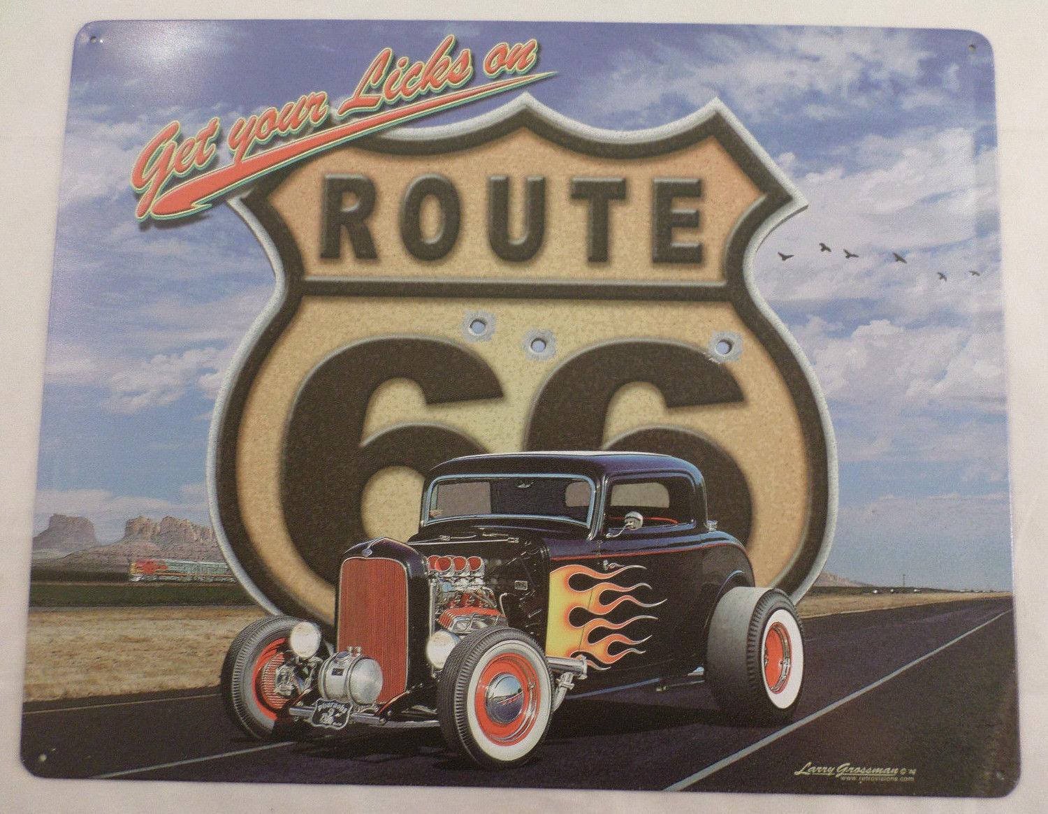 Get Your Licks On Route 66 Hot Rod Car Garage Bar Man Cave