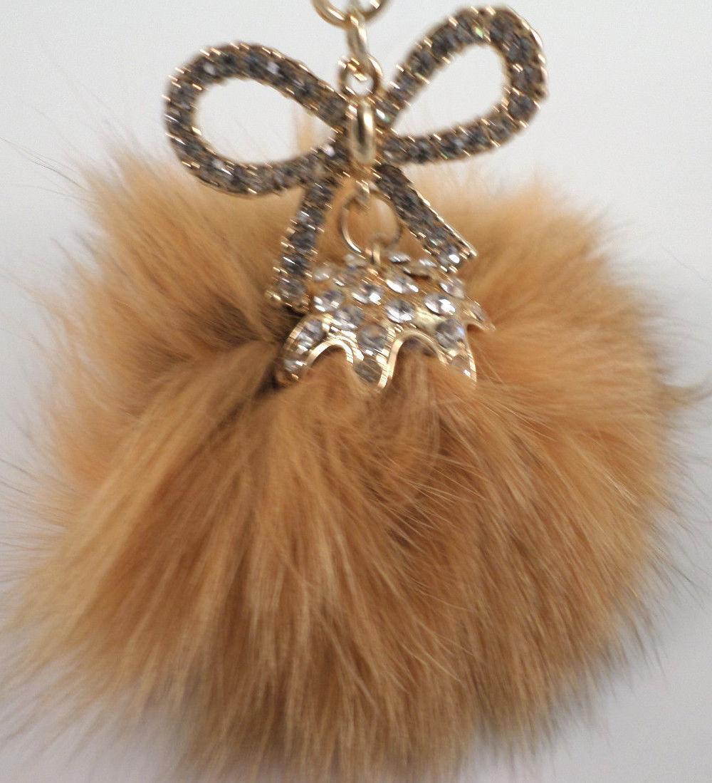 Fur Puff Key Chain Fob Phone Purse Charm