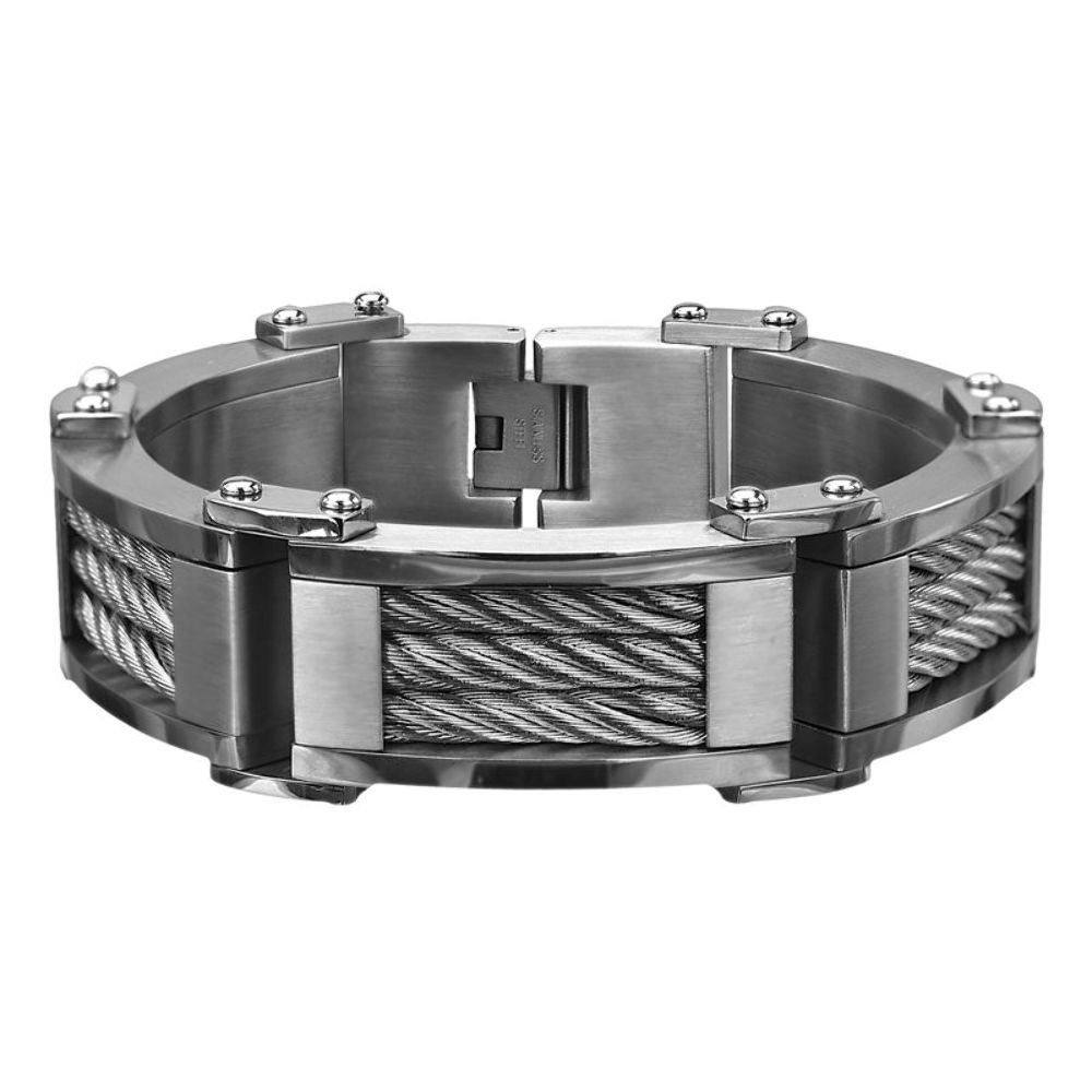 inox men 39 s stainless steel 3 cable chunky polished finish bracelet br4607 ebay. Black Bedroom Furniture Sets. Home Design Ideas