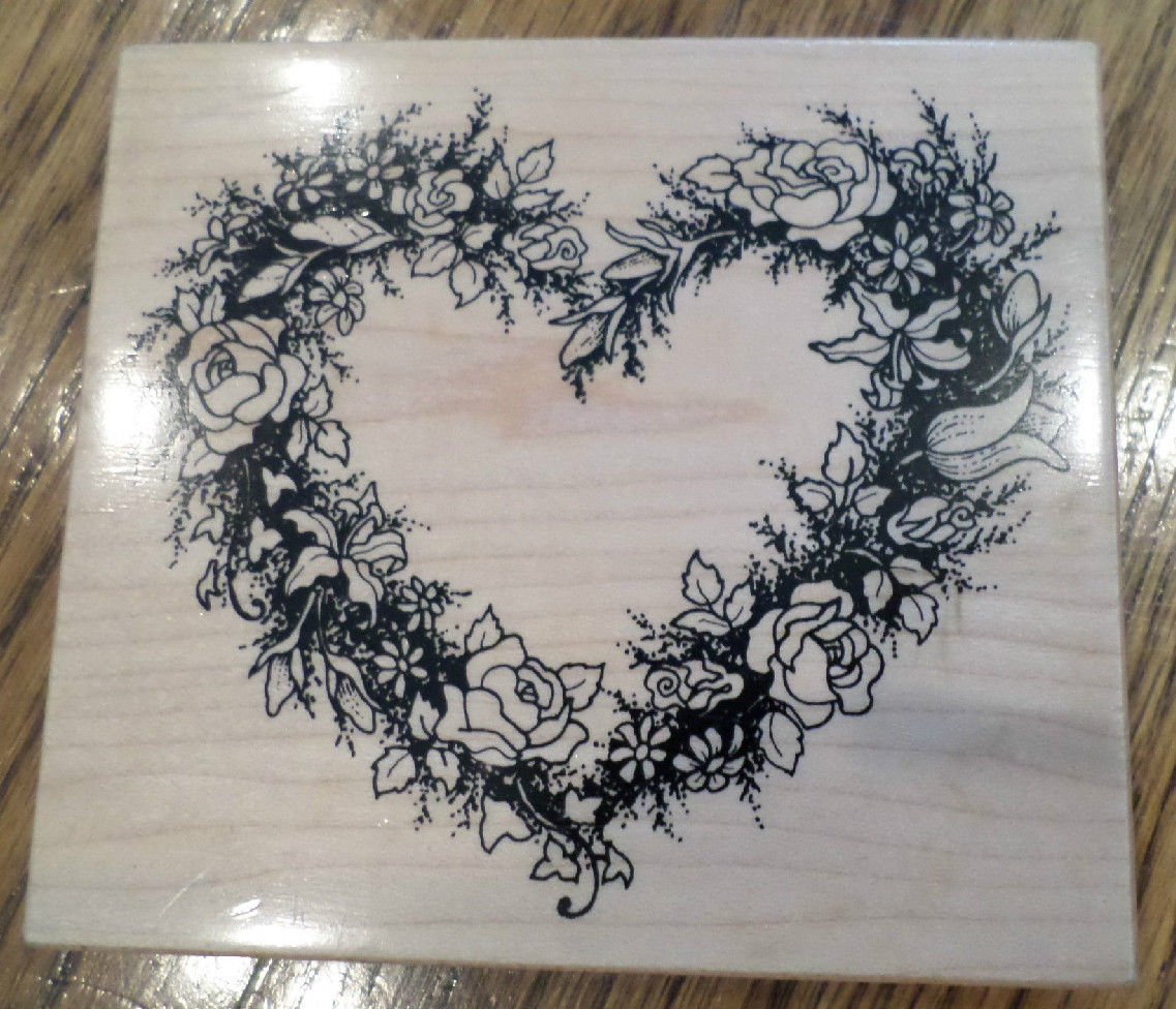 psx k 244 botanical heart rose wreath frame garden wooden rubber stamp