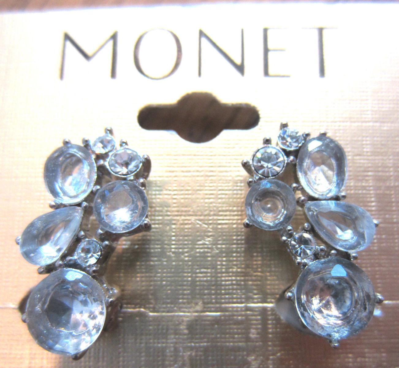 Monet Signed Rhinestone Bling Ice Clip Earrings Vintage ...